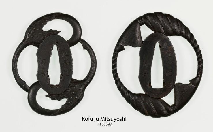 two iron tsuba by Kofu Mitsuyoshi
